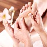 Beautiful model at wellness feet massage Stock Photo