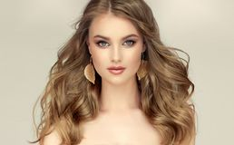 Free Beautiful Model With Long, Dense, Freely Laying Hairstyle And Neat Makeup. Stock Image - 154726561