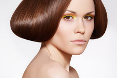 Beautiful Model With Shiny Hair And Bright Make-up Stock Photography