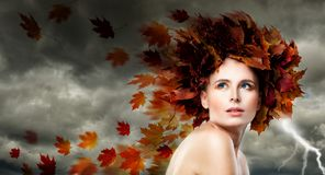 Beautiful Model Woman with Autumn Leaves. Stock Images