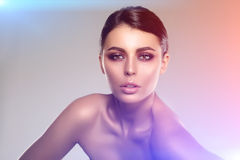 Beautiful model woman in beauty salon makeup Young modern girl i Royalty Free Stock Images