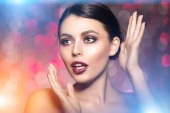 Beautiful model woman in beauty salon makeup Young modern girl i Stock Image