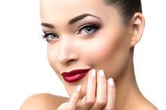 Beautiful model woman in beauty salon makeup Young modern girl Stock Photos