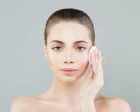 Beautiful Model Woman with Cotton Pads Stock Photography