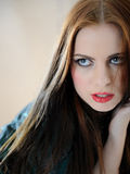 Beautiful model woman face with fashion make-up Stock Photography