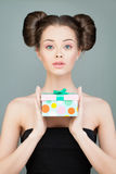 Beautiful Model Woman with Gift Stock Photography