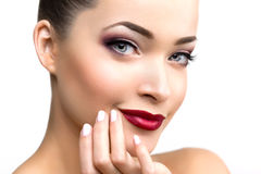 Beautiful Model Woman In Beauty Salon Makeup Young Modern Girl I Royalty Free Stock Photography