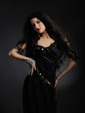 Beautiful model woman with long black healthy hair Stock Images