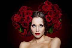 Beautiful model woman rose flower in hair beauty salon makeup Y Stock Images