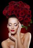 Beautiful Model Woman Rose Flower In Hair Beauty Salon Makeup