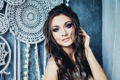 Beautiful Model Woman with Wavy Hair Boho Chic Style stock photography