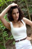 Beautiful model in woods Stock Image