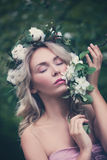 Beautiful Model with Wreath of Flowers Stock Photos