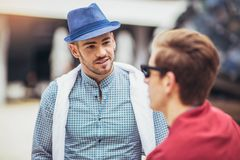 Beautiful models outdoors, city style fashion. Males beautiful models outdoors, city style fashion Royalty Free Stock Photography