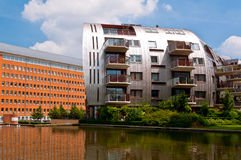 Beautiful Modern Architecture Residential Apartment Buildings. Newly built homes with a nice neighborhood in Den Bosch, Netherlands Stock Photos