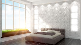 Beautiful modern bedroom interior Royalty Free Stock Images