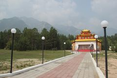 Beautiful modern Buddhist temple in Barguzinsky valley. Buryatia, Russia stock photo