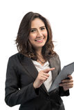 Beautiful modern business woman holding tablet computer. Business woman holding tablet computer Royalty Free Stock Photos