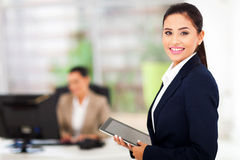 Modern businesswoman tablet Stock Photos