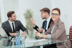 Beautiful modern businesswoman  working with  her colleagues on Royalty Free Stock Image