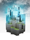 Beautiful modern city island with sky flare render Royalty Free Stock Photos
