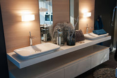 Beautiful Modern Classical  Bathroom in Luxury New Home Stock Photography