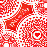 Beautiful modern creative abstract background with red hearts. Stylish Valentines Day background with mandala and hearts. Love card for Valentines day. Vector stock illustration