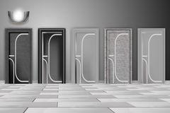 Beautiful modern doors, home interior. Black and white illustration royalty free illustration