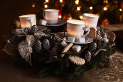 Beautiful modern homemade advent wreath Stock Photography