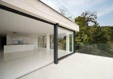 Beautiful modern house. Outdoors beautiful modern house, veranda royalty free stock photo