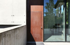 Beautiful modern house outdoors, door Stock Photos