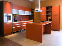 Beautiful and modern kitchen interior design. Royalty Free Stock Photos