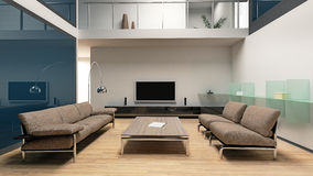 Beautiful modern living room interior. (3D Royalty Free Stock Photos