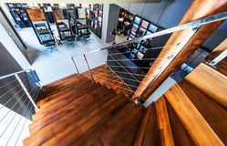 Beautiful modern loft, staircase view Stock Photos