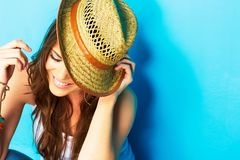 Beautiful modern style woman looking down Royalty Free Stock Image