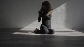 Beautiful, modern teenage girl dancer dancing contemp in the studio slow motion stock video