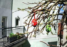 Beautiful modern terrace with Easter decoration Stock Photo