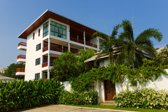 Beautiful modern townhouses against blue sky. Thailand Samui royalty free stock images