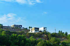 Beautiful modern two villas on the hill. landscape. Stock Photography