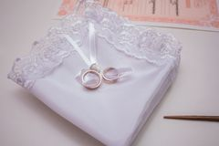 Beautiful modern wedding bouquet on white table royalty free stock image