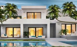 Modern white house with swimming pool. Beautiful modern white house with swimming pool stock photography