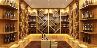 Modern wine cellar in a big house. Beautiful and modern wine cellar in a big house stock photos