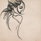 Beautiful modern woman drawing Royalty Free Stock Photography