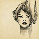 Beautiful modern woman drawing royalty free illustration