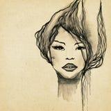 Beautiful modern woman drawing Stock Images