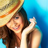 Beautiful modern woman portrait with big natural toothy smile. Face close up . straw hat Royalty Free Stock Photo