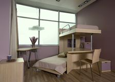 Beautiful and modern young room interior design. Stock Photo