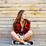Beautiful modern young woman outdoor fashion portrait.  Stock Photography