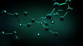 Beautiful Molecule Structure in Microscope Growing on Black Background. Concept 3d animation. HD 1080