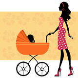 Beautiful mom with a baby in baby carriage. A vector illustration of a beautiful mom with a baby in baby carriage Stock Images